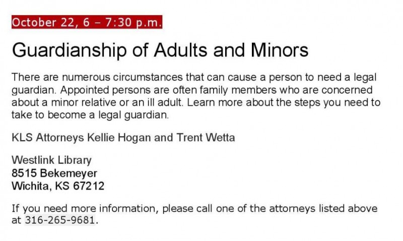 Law At The Library, Wichita: Guardianship Of Adults And Minors